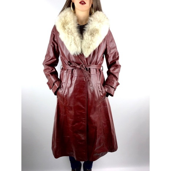 d8149c4da 1970's burgundy leather trench with silver fox fur